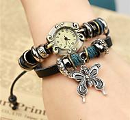 Mulheres Relógio de Moda Digital Couro Banda pulseira Preta