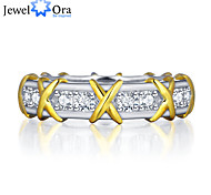"""Fashion 18KG """"X"""" Corss Accessories 925-Sterling-Silver White Cubic Zirconia Rings For Women&Lady"""