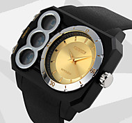 Men's Dual Time Analog-Digital Sports Watch Rectangle Design Wristwatch