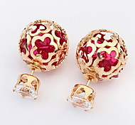 Fashion Hollow Square Gold Plated Crown Zirconia Stud Earrings For Women