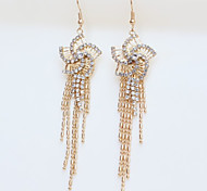 New Arrival Fashional Rhinestone Rose Tassel Earrings