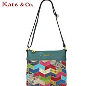 Kate & Co.® Women Cowhide Shoulder Bag Green - TH-02213