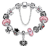 Women Strand Beads Bracelets Beads Glass Beads Charm Bracelets & Bangles Silver European beads  Gift PH012