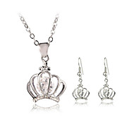 Jewelry Set Elegant Crystal Crown Pendant Necklace Earrings Girlfriend Gift