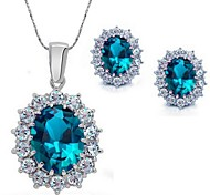Jewelry Set Elegant Crystal Oval Pendant Necklace Earring Girlfriend Gift