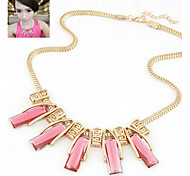 Women's Statement Necklaces Crystal Gemstone & Crystal Alloy Statement Jewelry Blue Pink Jewelry