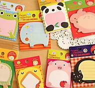 Cartoon Animal Sticky Notes Cute Memo Pads Stickers Paper Notepad Kawaii Stationery(Random Color)