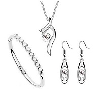 Jewelry Set Classic Elegant Crystal Unique Design Pendant Necklace Earrings Bracelet Girlfriend Gift