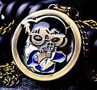 Unisex Round Dial Cartoon Pattern Retro Fashion Quartz Necklace Watch Pocket Watch