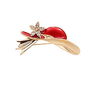 Fashion Women Cute Stone Set Red Hat Enamel Metal Brooch