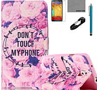 COCO FUN® Flowers Story Pattern PU Leather Case with V8 USB Cable Flim and Stylus for Samsung Galaxy Note 3/Note 4