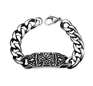 Maya Generous Personality Quadrate Cross Men Stainless Steel Chain & Link Bracelets(Black)(1Pcs)