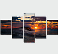 5 Panel Wall Art Modern Landscape Paintings Sea Sunset Canvas Wall Pictures Artwork Print On Canvas(No Frame)