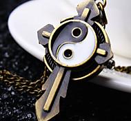 Unisex Round Dial Gossip Cross Pattern Retro Cartoon Fashion Quartz Necklace Watch Pocket Watch