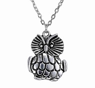 Vintage Sweater Chain Length Personalized Owl Pendant Necklace