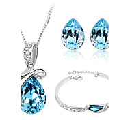 Jewelry Set Elegant Crysta Water Drop Pendant Necklace Earring Bracelet Gift