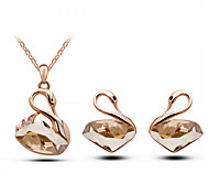 Jewelry Set Classic Elegant Crystal Unique Design Swan Pendant Necklace Earrings Girlfriend Gift