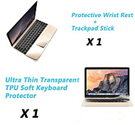 "Ultra Thin TPU Soft Keyboard Protector Cover + Metal Rest Protective Film and Touch Panel Membrane for 12"" MacBook"