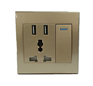 Gold  3 Hole with Two USB Switch