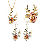 Jewelry Set Classic Elegant Crystal Unique Design Deer Pendant Necklace Earrings Ring Girlfriend Gift