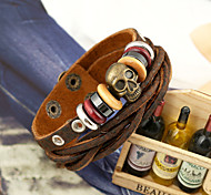 Punk Well Knited Skull Leather Bracelets 1pc