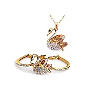 Jewelry Set Shining Crystal Elegant Swan Pendant Necklace Bracelet(Assorted Color)