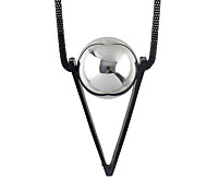 Silver Red Ball Triangle Pendant Long Necklace