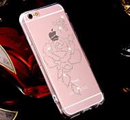 rose conception de modèle TPU couverture de strass pour iPhone 6 Plus iphone 6s, plus