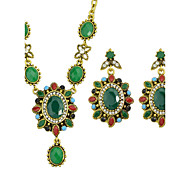 Green Rhinestone Pendant Necklace Drop Earrings Fashion Jewelry Set