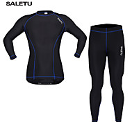 SALETU Compression Base Layer Top Long Sleeve  Bicycle Cycling Jersey/ Running Fitness Gym Sports Shirt Set