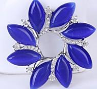 синий кристалл горный хрусталь цветок оптовой брошь булавки для женщин, многоцветная мило лист мода девушки броши