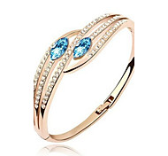 Fashion New Women's/Girl's 18k Yellow Gold Plated Clear Austrian Crystal Bracelets & Bangles Jewelry Gift