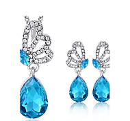 2pcs Jewelry Set Shining Crystal Butterfly Shape Pendant Necklace Earring(Assorted Color)
