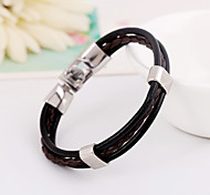 Unisex Well-Knited Multilayer Simple Leather Bracelets 1pc