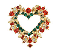 Heart Colorful Rhinestone Brooch
