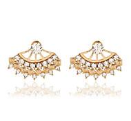 Tropfen-Ohrringe Kristall Perle Harz Strass 18K Gold Imitation Diamant Aleación Modisch Gold Silber Schmuck 2 Stück