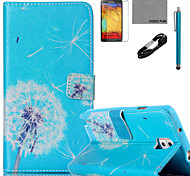 COCO FUN® Dandelion Pattern PU Leather Case with V8 USB Cable Flim and Stylus for Samsung Galaxy Note 3/Note 4