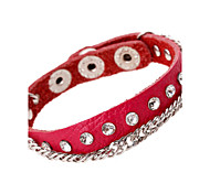 Fashion Crystal Inlay Link Chains Band Leather Bracelets
