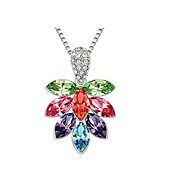 Women Necklace ELegant Crystal Flower Tree Pendant Necklace