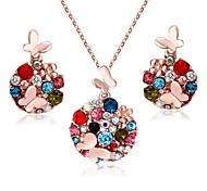 Jewelry Set Crystal Elegant Multicolor Butterfly Pendant Necklace Earring Gift for Bride