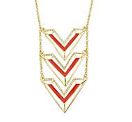 New Fashion Enamel And Rhinestone Triangle Long Meaningful Pendant Necklace