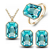 Jewelry Set Classic Elegant Crystal Unique Design Pendant Necklace Earrings Ring Girlfriend Gift