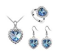 Jewelry Set Elegant Crystal Heart of Ocean Pendant Necklace Earring Ring Gift