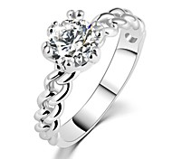 New Hot Fashion brand jewelry zircon crystal Small Net Weaving wedding/Engagement Gift Silver ring for womens