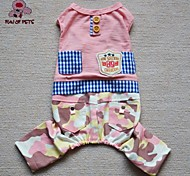 Cat / Dog Clothes/Jumpsuit Blue / Pink Spring/Fall Plaid/Check / CamouflageCosplay / Birthday / Valentine / Holiday / Camouflage /