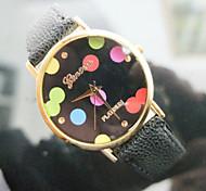 genf Uhren Unisex-Tupfen Armbanduhren Mode Lederuhr heiße Frauen Uhren kleiden