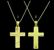 Ouro 18k pingente de cruz banhado jesus