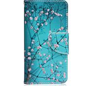 Modelo de flor de ciruelo caja del teléfono carta invertida material de cuero de la PU para la galaxia a3 10 (2016) / a5 10 (2016)