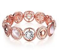 Chaînes & Bracelets 1pc,Or Rose Bracelet Alliage / Zircon / Strass / Plaqué Or Rose / Opale Bijoux Femme