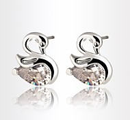 Allergy Free Gold Plated Women Stud Earrings European Style Luxury Zircon Insert Swan Earrings